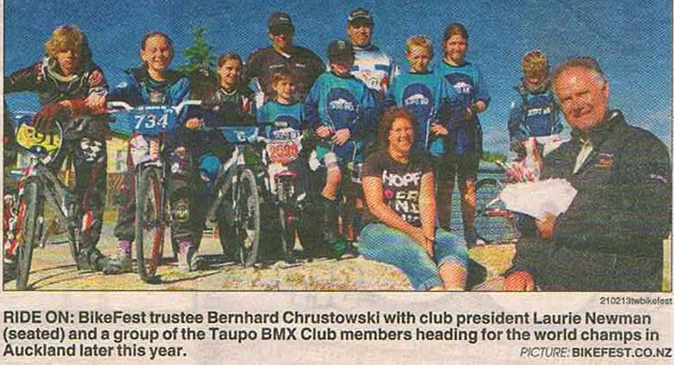 RIDE ON: BIkeFest trustee Bernhard ChrustowskI with club president Laurie Newman (seated) and a group of the Taupo BMX Club members heading for the world champs in Auckland later this year.